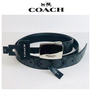 NWT Coach Plaque Buckle Signature Reversible Belt